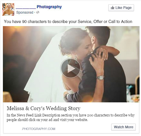 Video Ad On Facebook Showing A Photographer Wedding