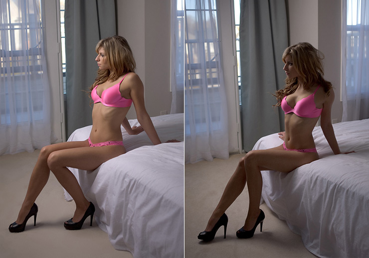 Example of side lighting boudoir photography
