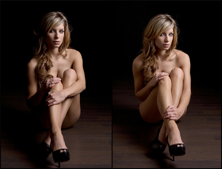 Subtractive Lighting example with dark boudoir background
