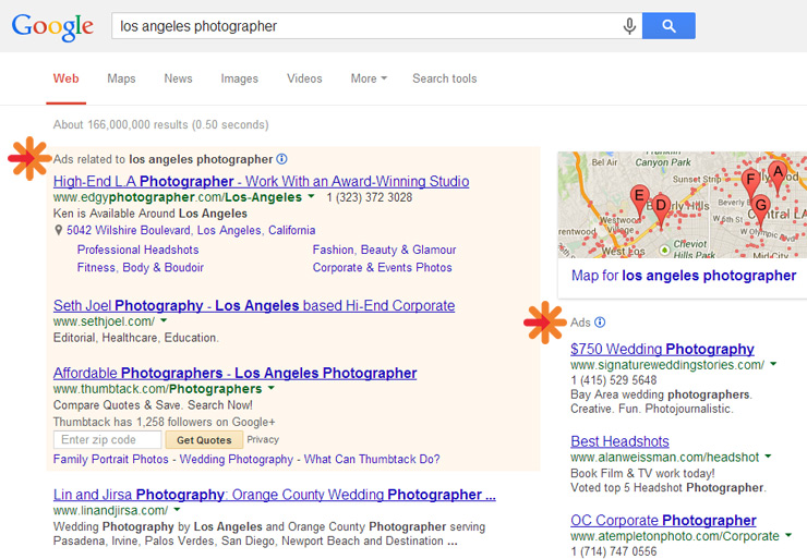 example adwords screenshot of photography listings
