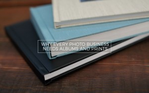 3 wedding photo albums on a coffee table