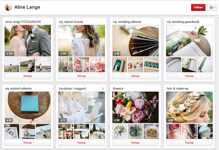 Aline Lange pinterest boards for photography studios