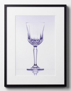 Framed photo with Art Glass