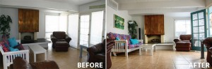 Before and after low viewpoint of living room