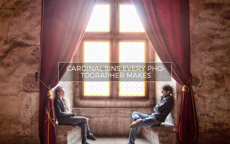Photographer confessing sins in a church