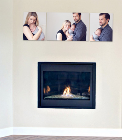 3 canvases above a fireplace - wall art