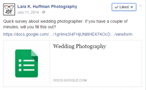 Example survey from Laura Huffman Photography