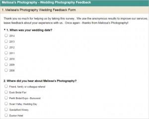 Melissa's photography example survey monkey