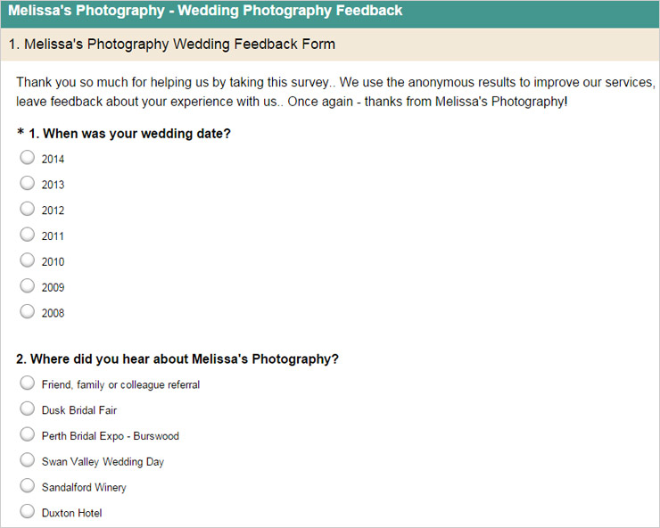 Melissa's photography example survey monkey
