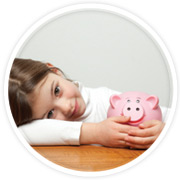 Financials - girl with piggy bank