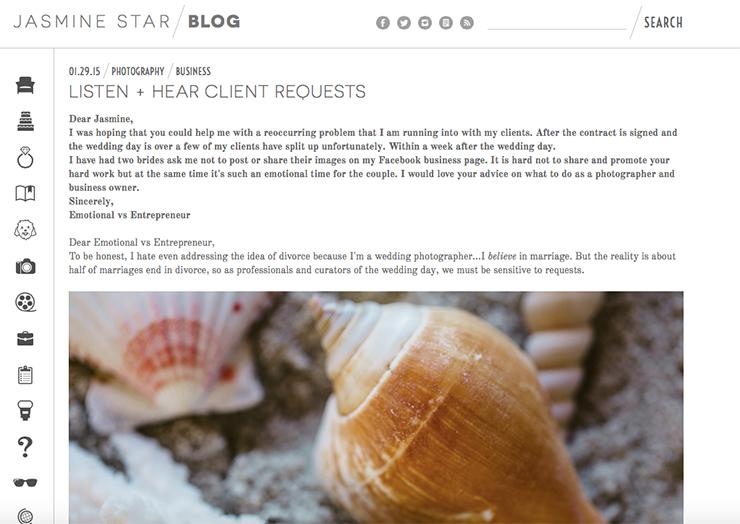 Jasmine Star's customer service webpage