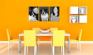 Yellow wall background for a kitchen display