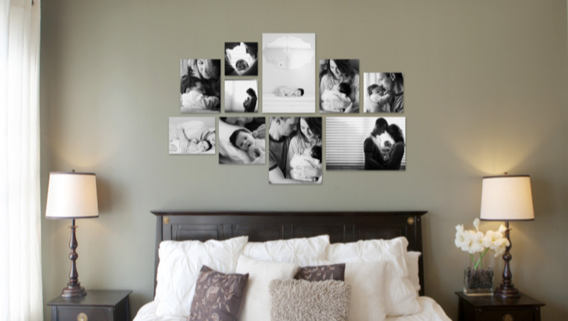 Bedroom wall display over a bed