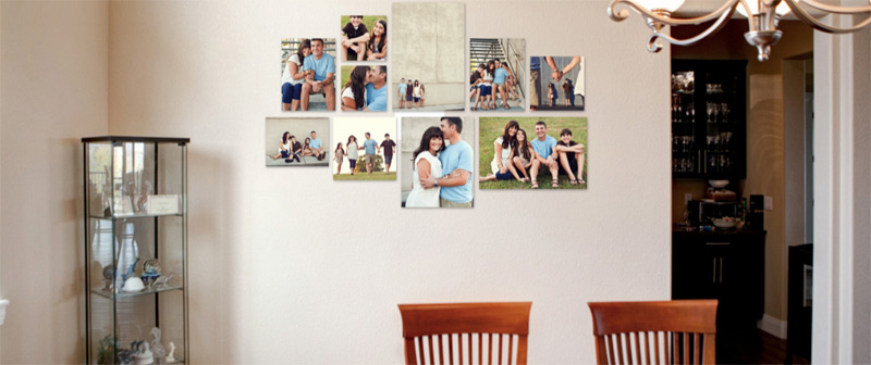Example of many photos on the wall of a kitchen