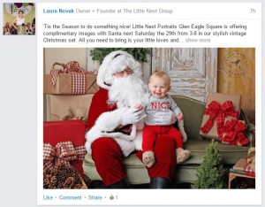 Promoting photos with santa on LinkedIn