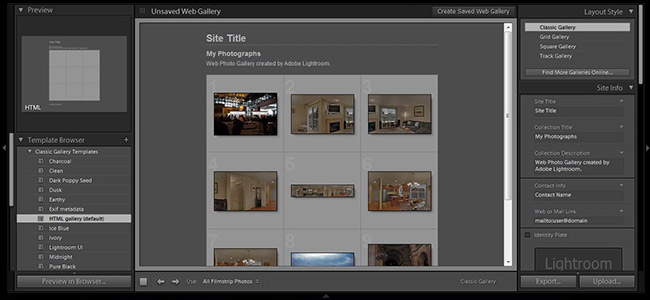 Web Gallery Tool Interface
