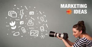 Photographer brainstorming marketing ideas on a chalkboard