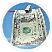 One dollar bill on a clothesline
