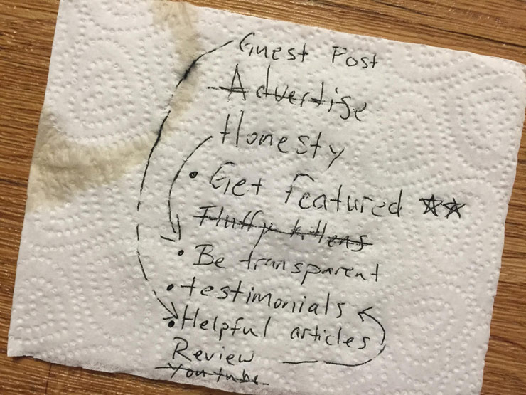 Napkin of ideas from the coffee shop