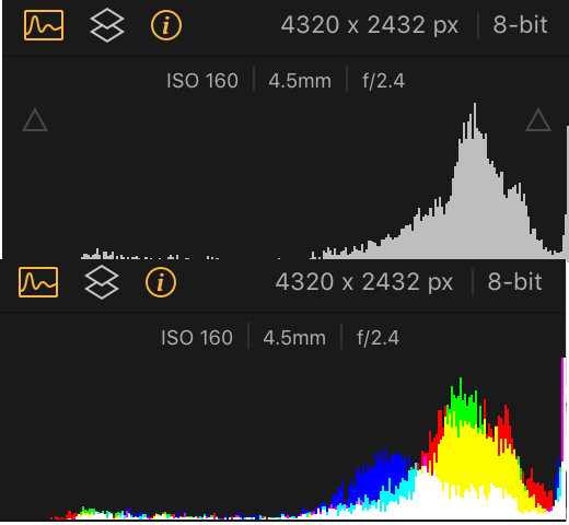 grayscale and RGB histogram of an Overexposed Photo