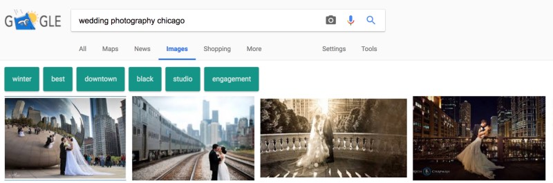 local wedding photographer search results page
