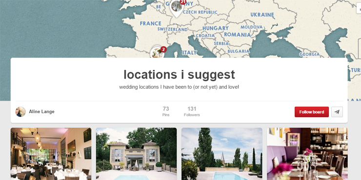 Wedding locations board on Pinterest