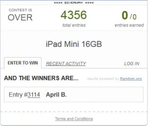 Rafflecopter iPad Mini Giveaway