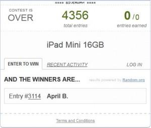 Rafflecopter iPad Mini Giveaway