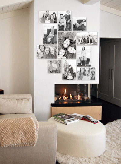 Display of 8 photo prints above a fireplace