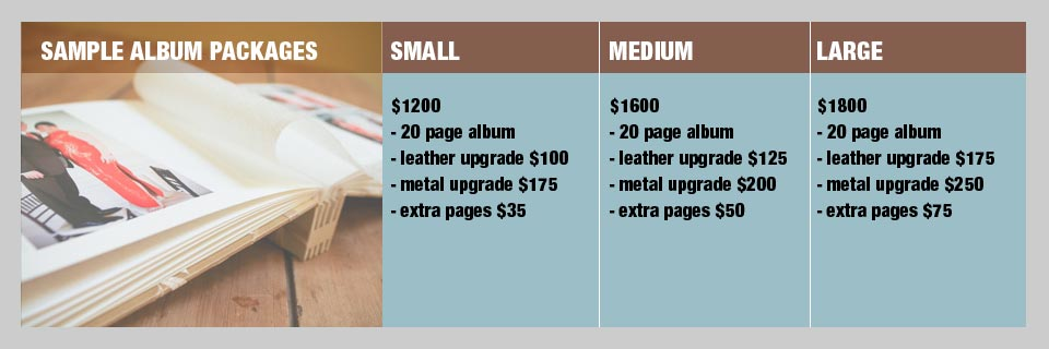 Sample album packages with pricing