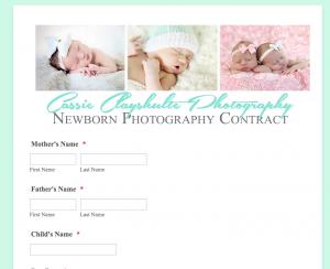 Sample photographer form