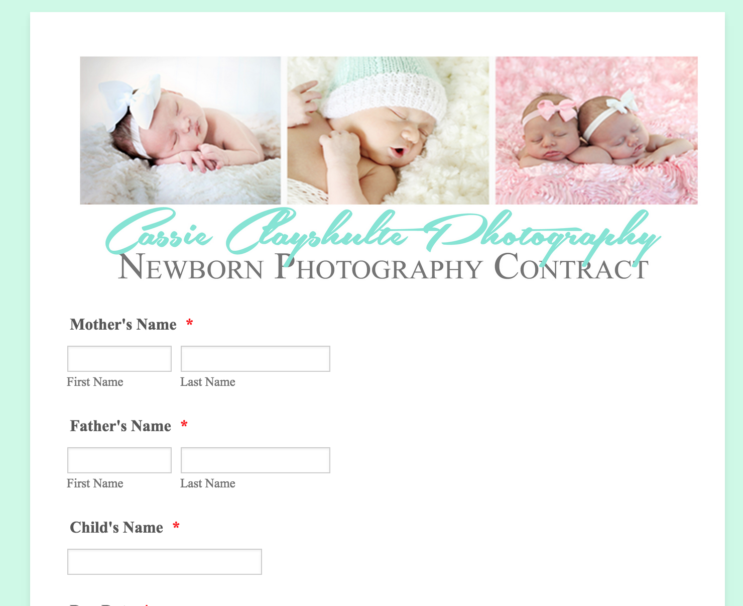 Sample photographer form