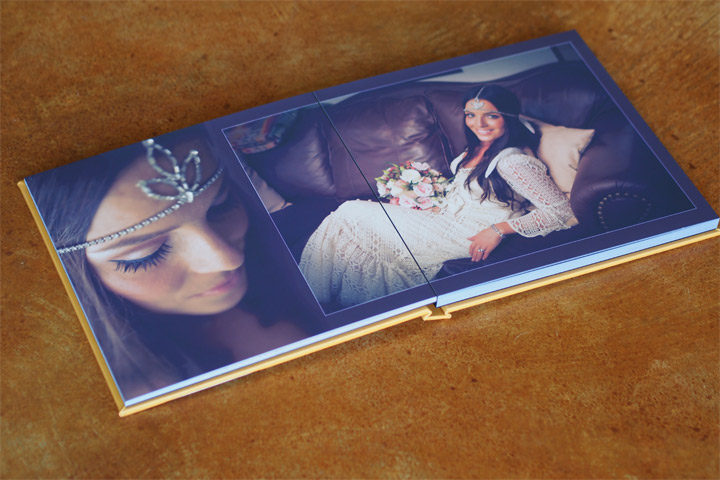 Wedding Photo album open on a table