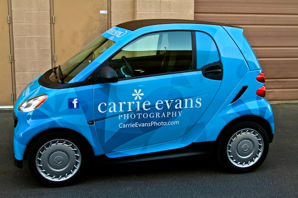 Car wrap for Carrie Evans Photography