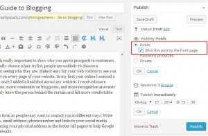 How to make a post stick to the front in wordpress