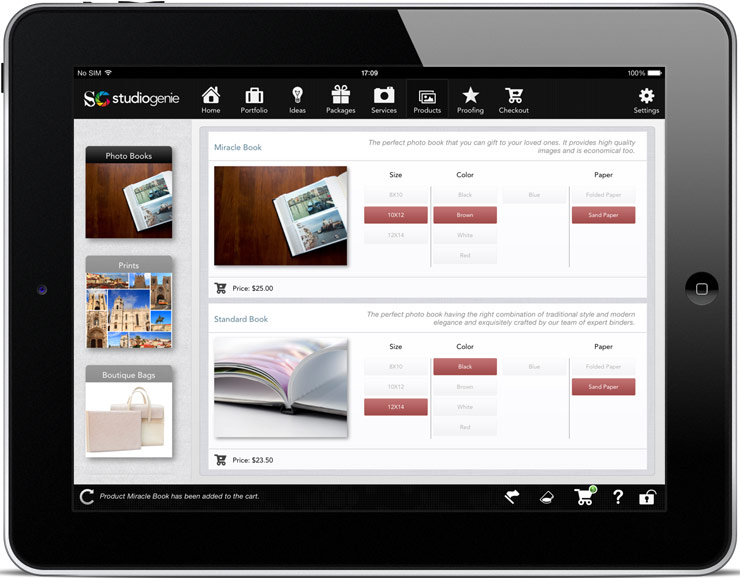 photo package examples on an ipad