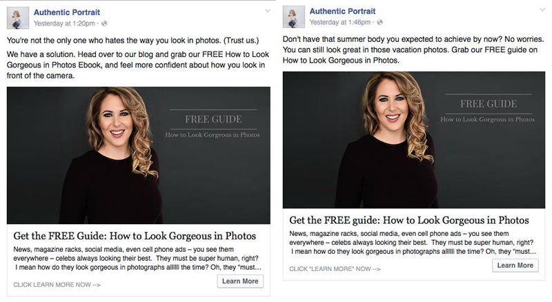 Before and after Facebook ad test