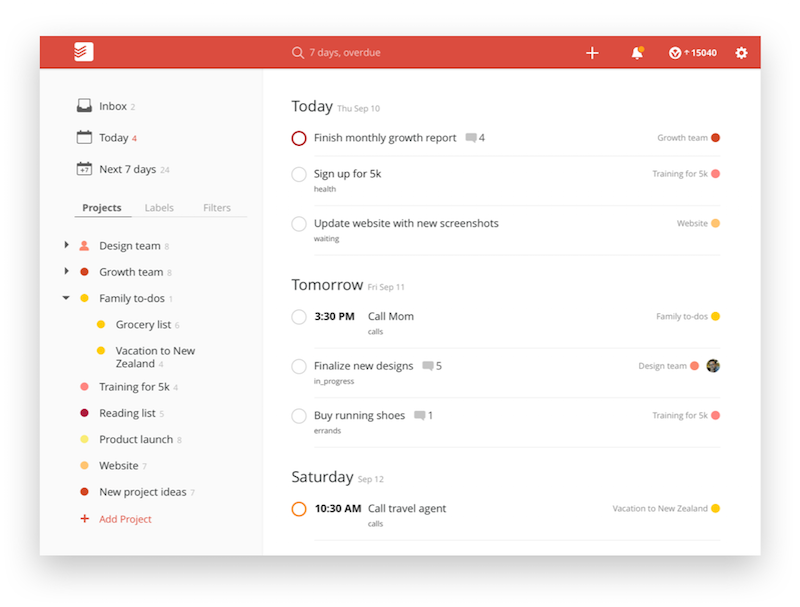 The user homepage for Todoist