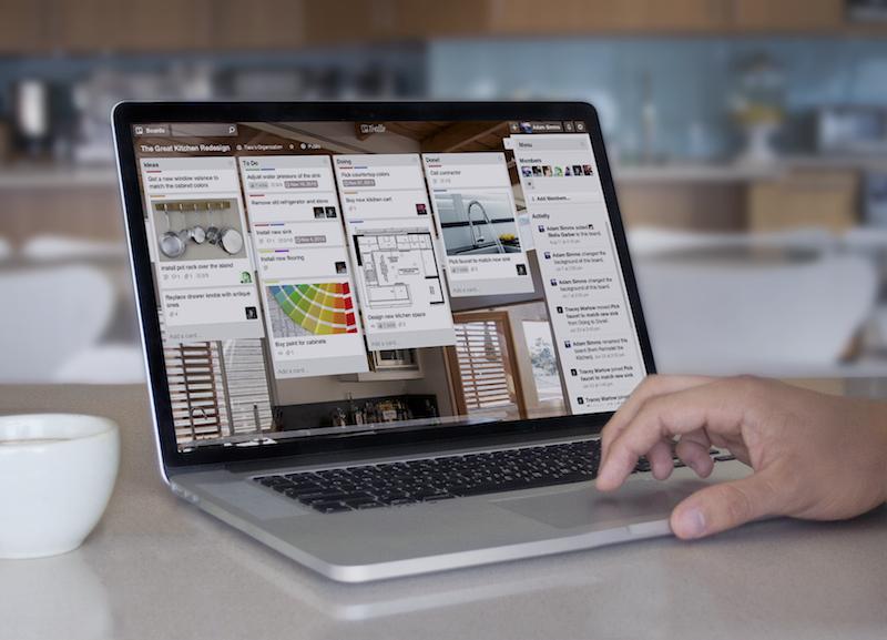 A person using Trello on a computer