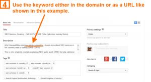 Video optimization step 4 - domain URL SEO