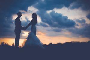 couple outdoors wedding