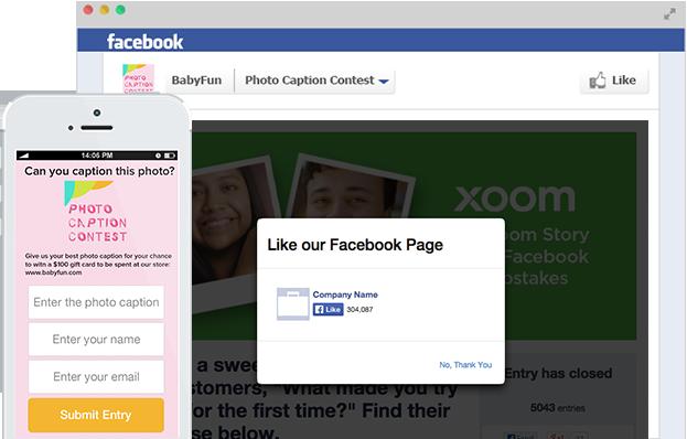 Wishpond's photo caption app for Facebook