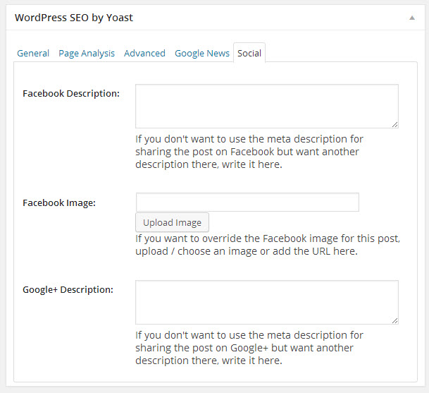 WordPress SEO plugin showing Facebook integration